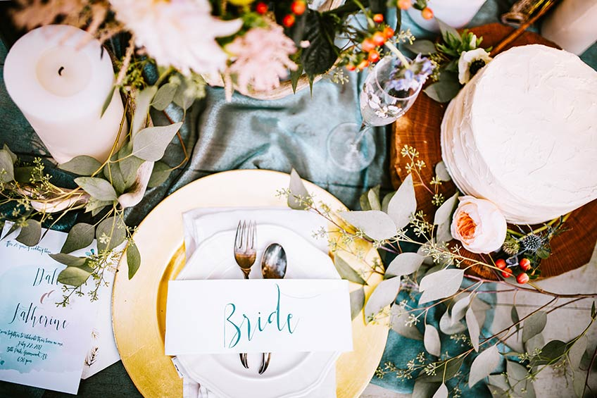 place setting on table at wedding