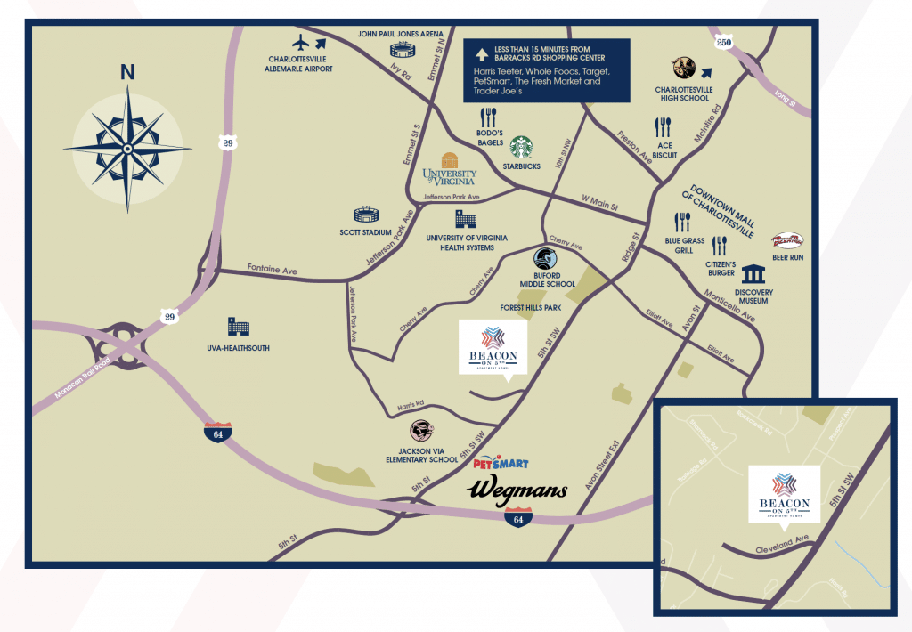 charlottesville VA Apartments Map