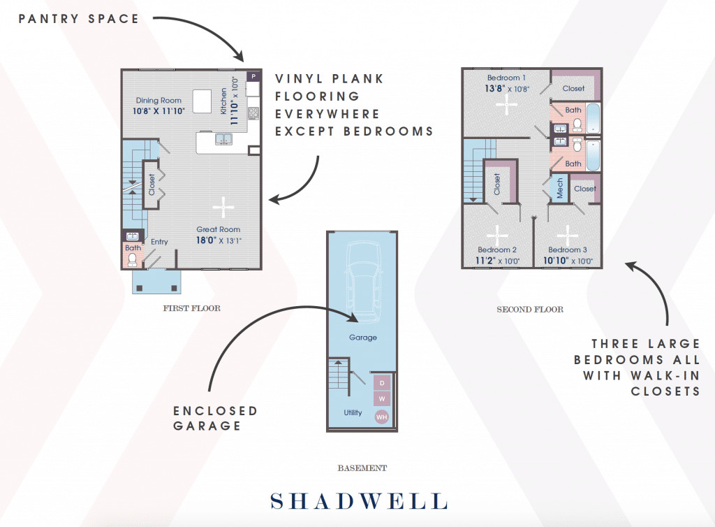 Image Three Bedroom Apartment - Shadwell Three-Bedroom Townhome, Two and One Half Bathrooms 1733 Square Feet